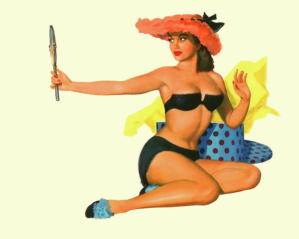 Wall Art - Painting - Pin Up Sexy Girl With Funny Hat Looking Herself In A Mirror by Long Shot