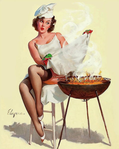 Wall Art - Painting - Pin Up Sexy Girl With Hot Barbecue by Long Shot