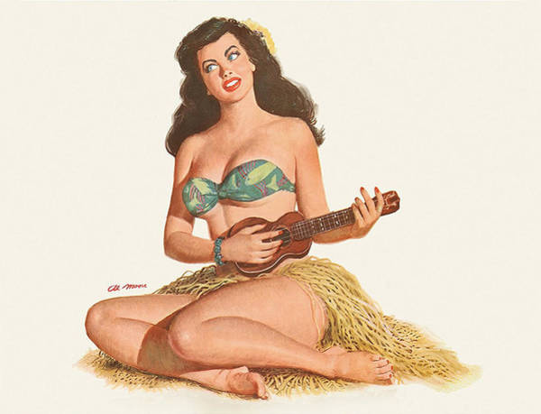 Hula Wall Art - Painting - Pin Up Sexy Hula Girl Play Ukulele by Long Shot