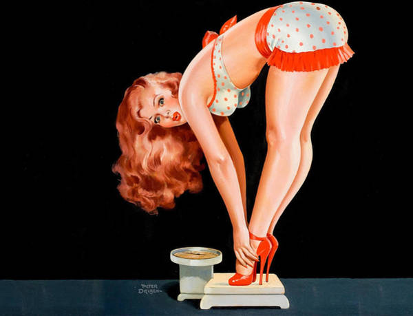 Diet Painting - Pin Up Sexy Redhead Girl On Diet by Long Shot