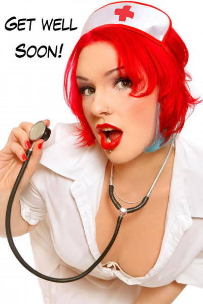 Wall Art - Photograph - Pin Up Sexy Redhead Nurse With Stethoscope by Long Shot
