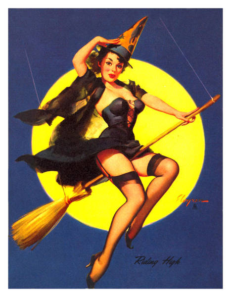 Full Moon Mixed Media - Pin Up Sexy Witch by Long Shot