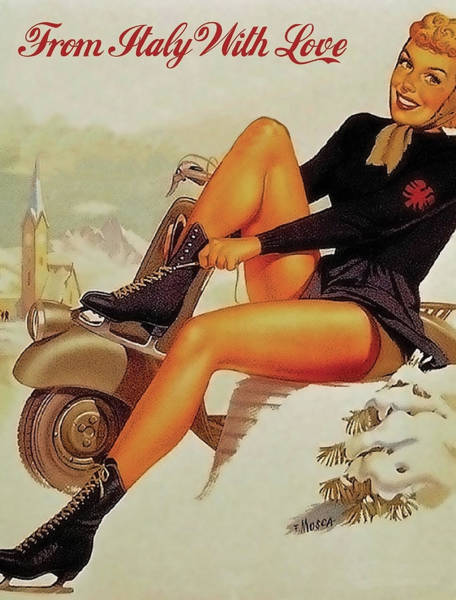 Wall Art - Painting - Pin Up Sexy Woman Putting On Ice Skates by Long Shot