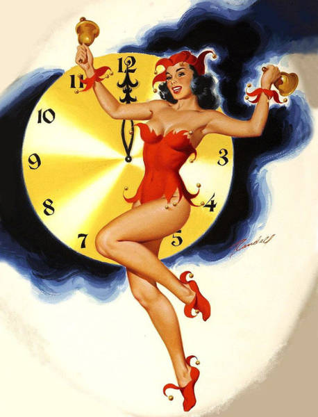 Wall Art - Painting - Pin Up Sexy Woman With Great Legs Celebrating New Year Coming by Long Shot