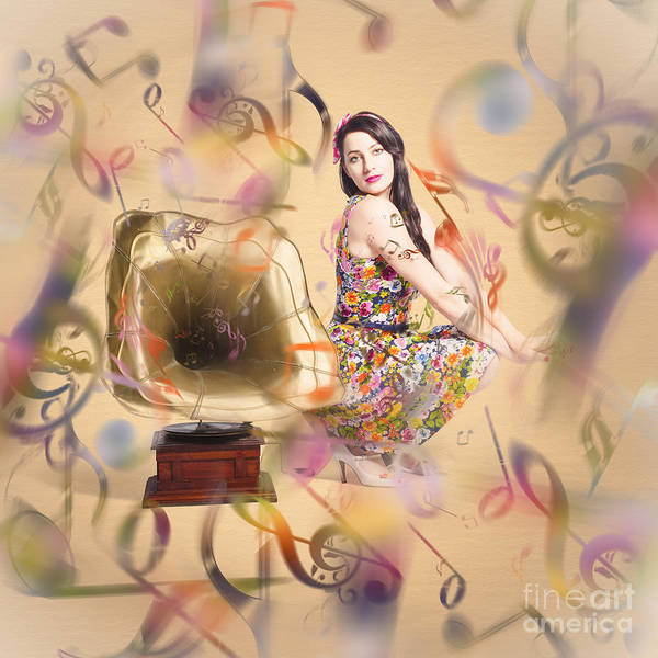 Wall Art - Digital Art - Pin-up The Sound Of Nostalgia by Jorgo Photography - Wall Art Gallery