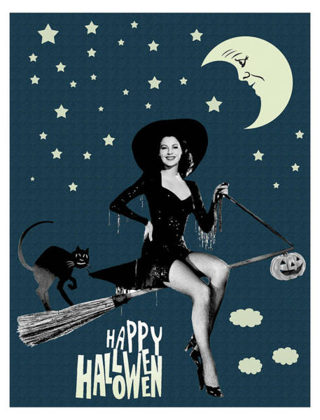 Wall Art - Photograph - Pin Up Witch Riding A Broom by Long Shot