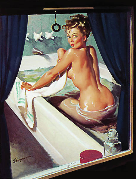 Wall Art - Painting - Pin Up Woman Having A Bath, Someone Is Watching Through The Window by Long Shot