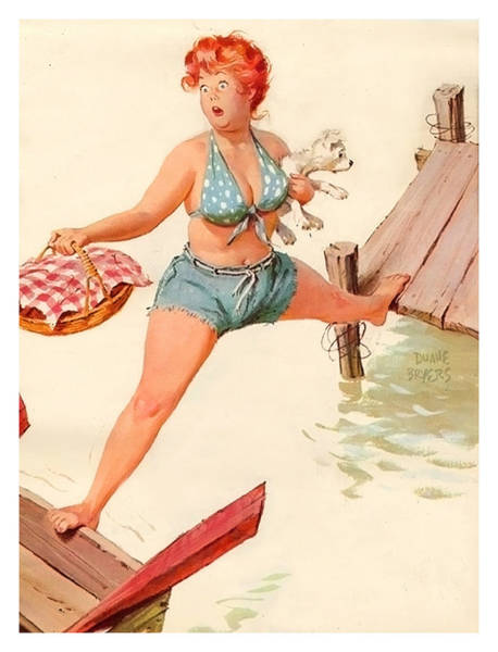 Wall Art - Painting - Pin Up Woman Is Trying To Get On The Boat With Her Dog by Long Shot