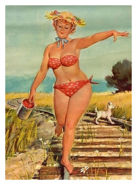 Model Trains Painting - Pin Up Woman Is Walking On A Railway With Her Dog. by Long Shot