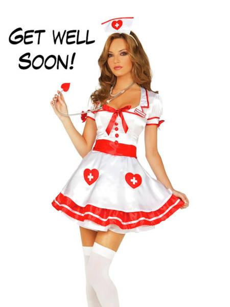 Wall Art - Photograph - Pin Up Woman Posing In Nurse Uniform by Long Shot