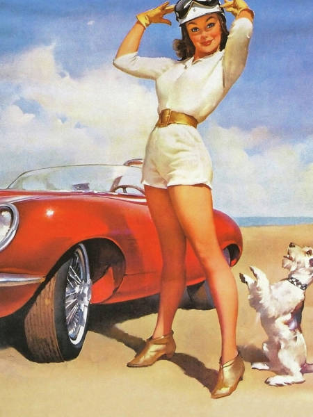 Wall Art - Painting - Pin Up Woman Posing With Her Dog Beside Sport Red Car by Long Shot