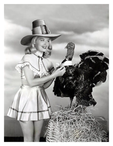 Wall Art - Photograph - Pin Up Woman Posing With Thanksgiving Turkey by Long Shot