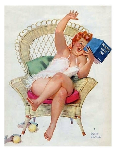 Wall Art - Painting - Pin Up Woman Reading A Funny Plumbing Book by Long Shot