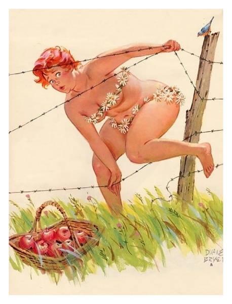 Wall Art - Painting - Pin Up Woman Stealing Apples by Long Shot
