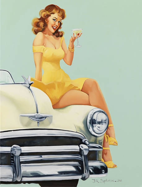 Champagne Painting - Pin Up Woman With Champagne Glass On Classic Car by Long Shot