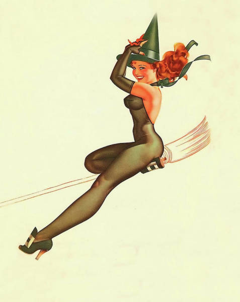 Wall Art - Painting - Pin Up Young Witch Riding A Broom by Long Shot