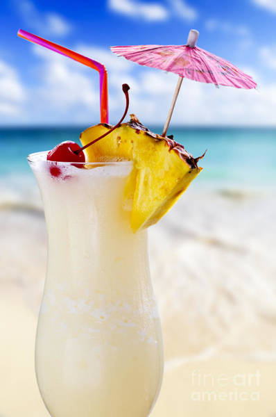Wall Art - Photograph - Pina Colada Cocktail On The Beach by Elena Elisseeva