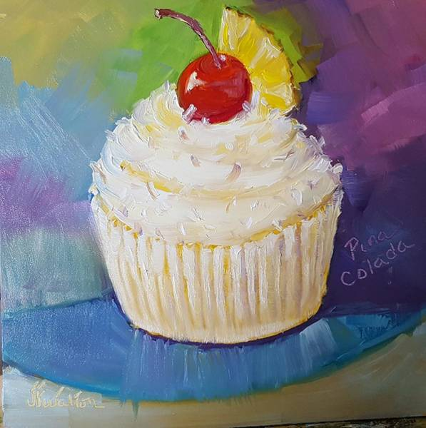 Painting - Pina Colada Cupcake by Judy Fischer Walton
