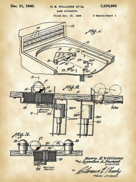 Pinball Digital Art - Pinball Machine Patent 1939 - Vintage by Stephen Younts