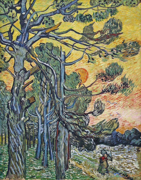 Pine Needles Painting - Pine Trees Against An Evening Sky, 1889 by Vincent Van Gogh