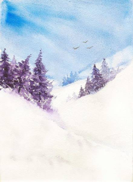 Painting - Pine Trees And Snow by Asha Sudhaker Shenoy