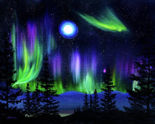 Aurora Borealis Painting - Pine Trees In Aurora Borealis by Laura Iverson