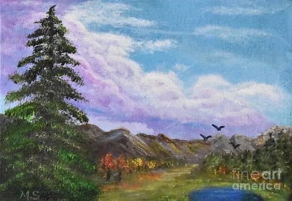 Painting - Pine Watches Eagles by Monika Shepherdson