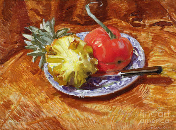 Butter Painting - Pineapple And Tomato by William Nicholson