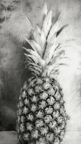 Photograph - Pineapple Black And White by Andrea Anderegg
