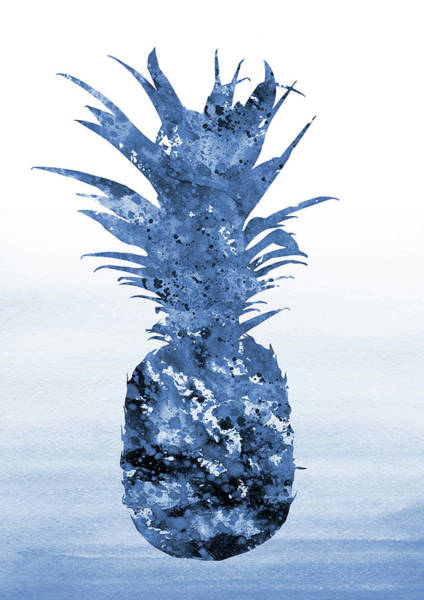 Pineapples Digital Art - Pineapple-blue by Erzebet S