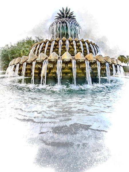 Digital Art - Pineapple Fountain by David Smith