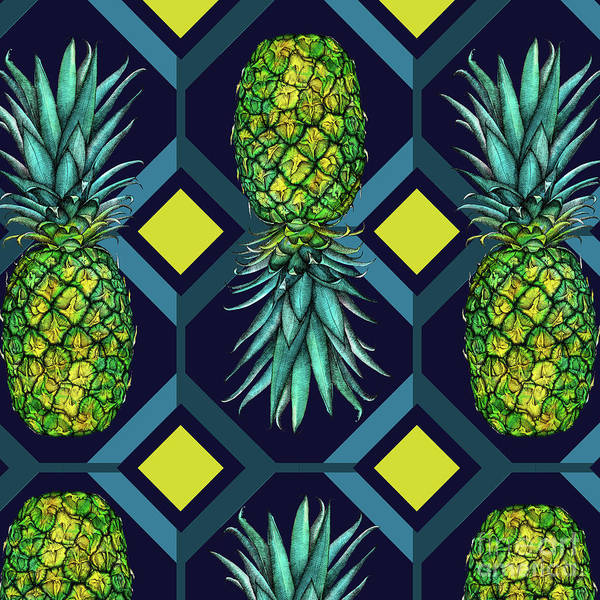 Wall Art - Painting - Pineapple Geometric Tile by Andrew Watson