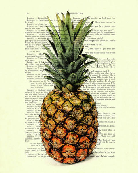 Pineapples Digital Art - Pineapple In Color Illustration by Madame Memento