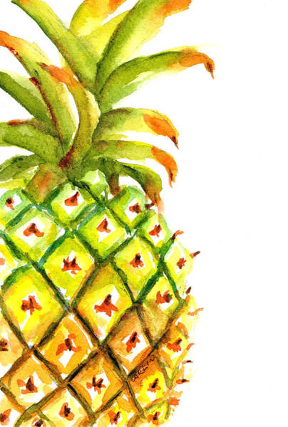 Wall Art - Painting - Pineapple On The Side  by Carlin Blahnik CarlinArtWatercolor