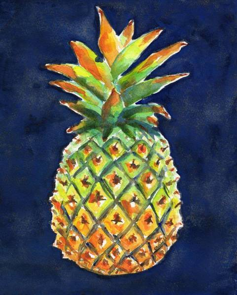 Wall Art - Painting - Pineapple Ripe Watercolor by Carlin Blahnik CarlinArtWatercolor