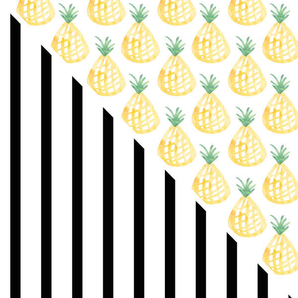 Dorms Wall Art - Mixed Media - Pineapples And Stripes by Linda Woods