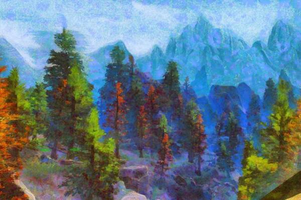Digital Art - Pines And Mountains by Caito Junqueira