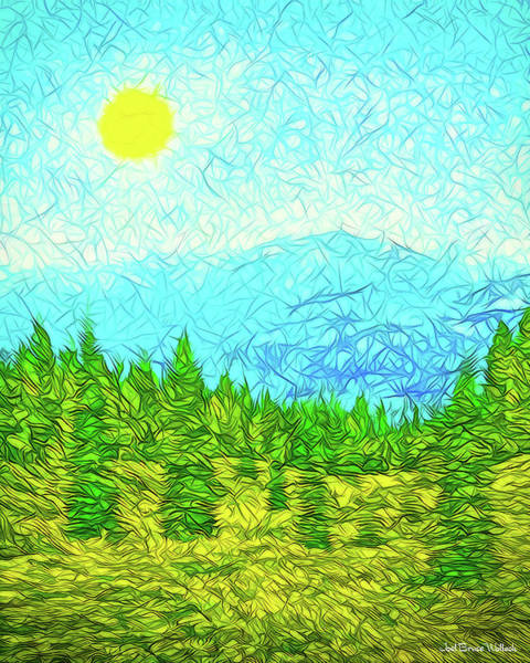 Digital Art - Pines On Mountain - Mount Shasta California by Joel Bruce Wallach