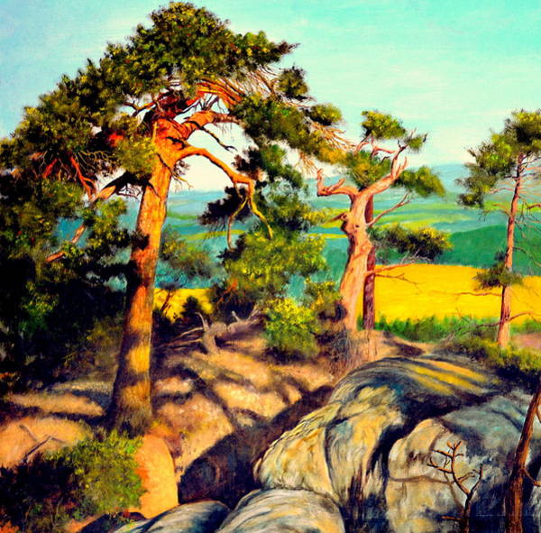 Umber Painting - Pines On The Rocks by Henryk Gorecki