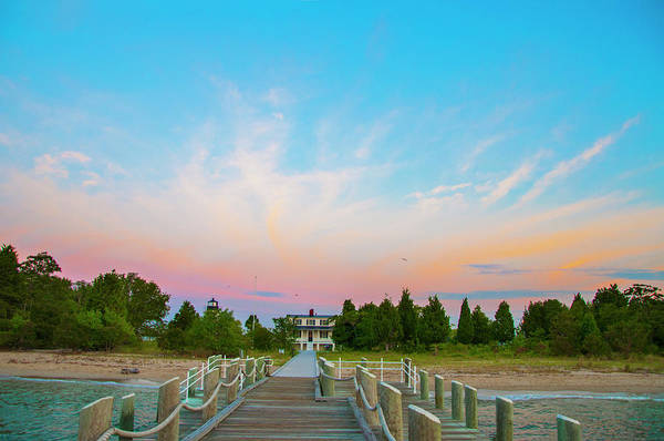Wall Art - Photograph - Piney Point Lighthouse From The Pier - Piney Point Maryland by Bill Cannon