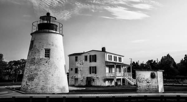Wall Art - Photograph - Piney Point Lighthouse - Mayland - Black And White by Bill Cannon