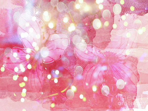 Wall Art - Photograph - Pink Abstract Butterflies Fantasy Fairytale Bokeh Lights Watercolor  by Kathy Fornal