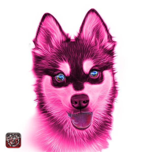 Painting - Pink Alaskan Klee Kai - 6029 -wb by James Ahn