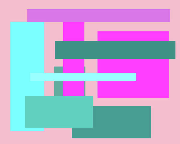 Digital Art - Pink And Blue Blocks Abstract by Kathy K McClellan