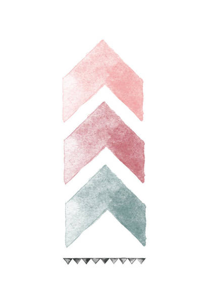Wall Art - Digital Art - Pink And Blue Chevron Watercolor  by Nordic Print Studio