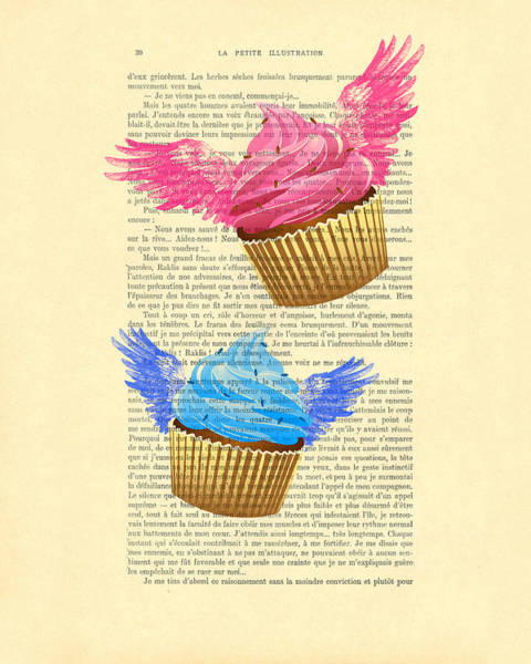 Wall Art - Digital Art - Pink And Blue Cupcakes Vintage Dictionary Art by Madame Memento