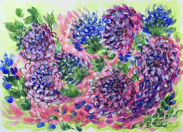 Painting - Pink And Blue Flower Flurry by Holly Carmichael