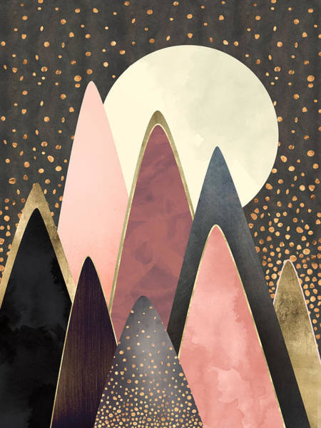 Wall Art - Digital Art - Pink And Gold Peaks by Spacefrog Designs