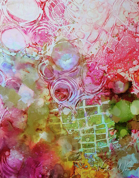 Painting - Pink And Green Patterns by Kate Word