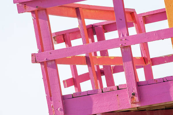 Wall Art - Photograph - Pink And Orange Lifeguard Tower by Art Block Collections